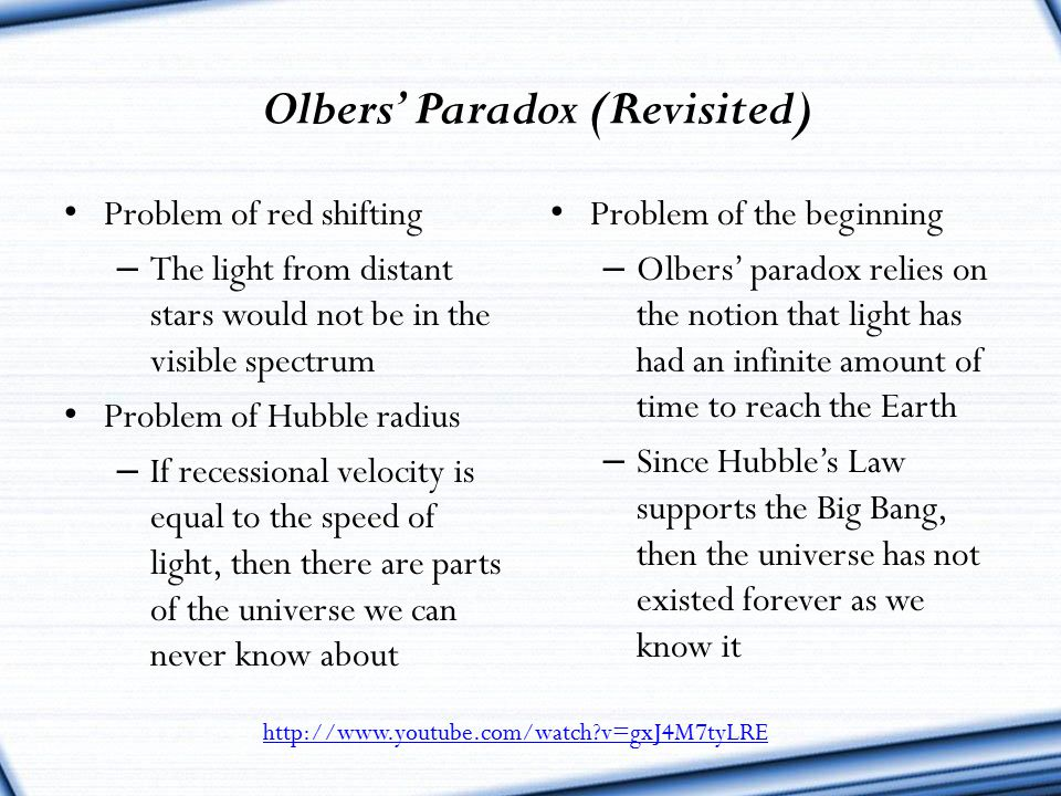Olbers' Paradox (Revisited)