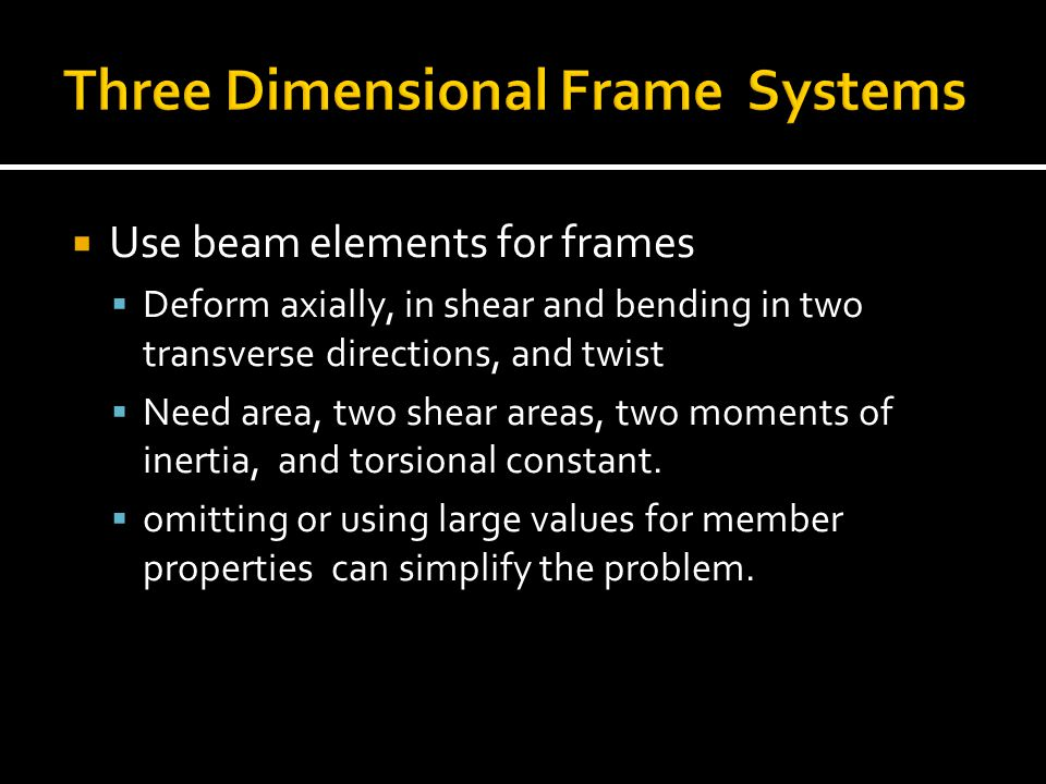 Three Dimensional Frame Systems