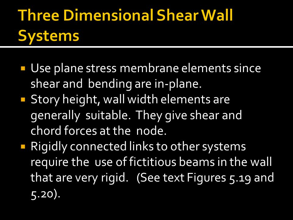 Three Dimensional Shear Wall Systems