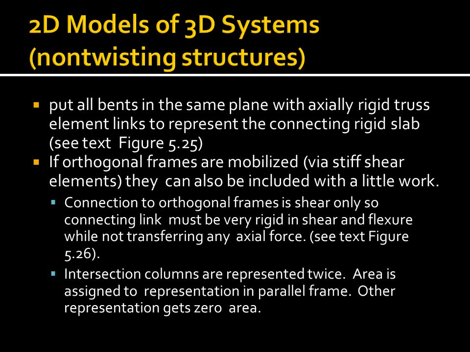 2D Models of 3D Systems (nontwisting structures)