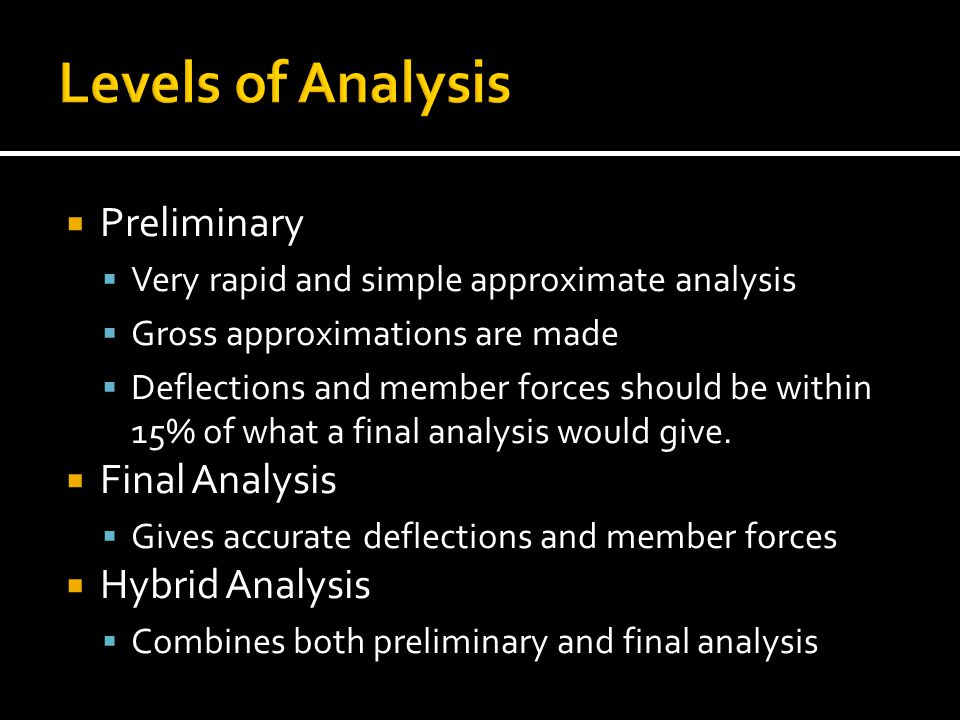 Levels of Analysis Preliminary Final Analysis Hybrid Analysis