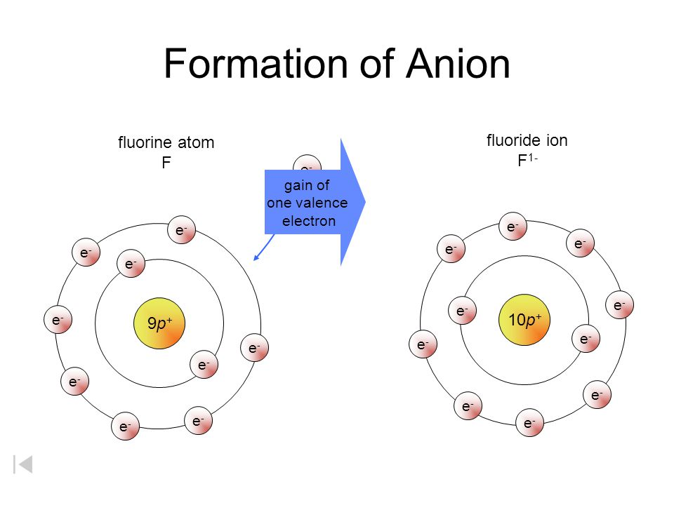 Formation of Anion fluorine atom fluoride ion F1- F 10p+ 9p+ gain of