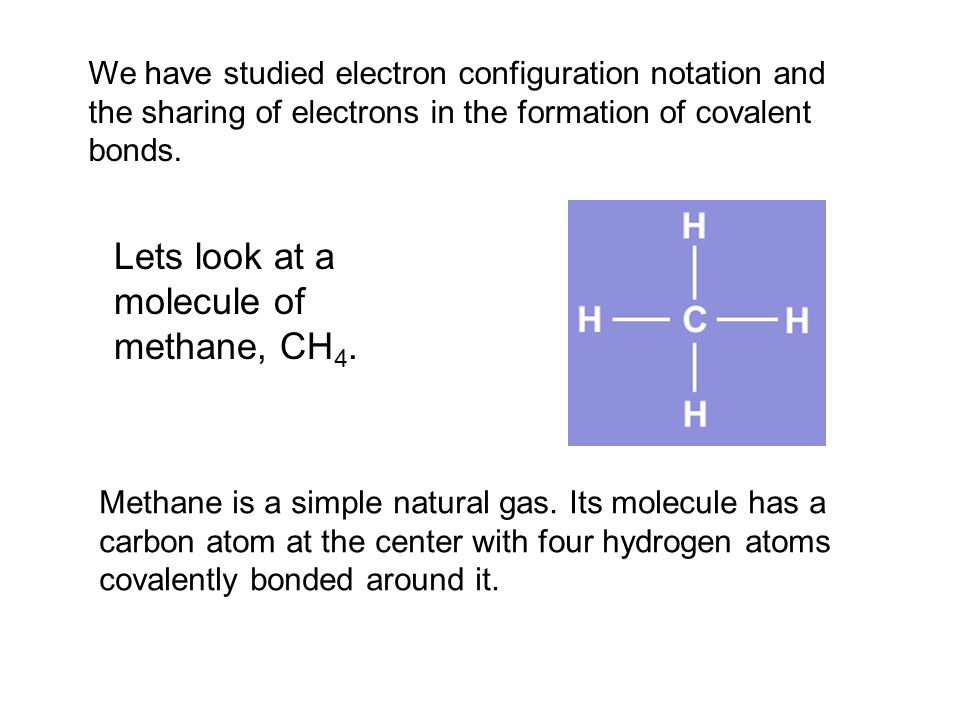 Lets look at a molecule of methane, CH4.