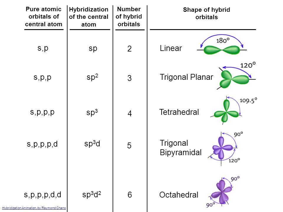 s,p sp 2 Linear s,p,p sp2 3 Trigonal Planar s,p,p,p sp3 4 Tetrahedral