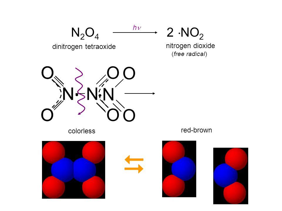  N O O N O O N N O O N2O4 2 NO2 hn dinitrogen tetraoxide
