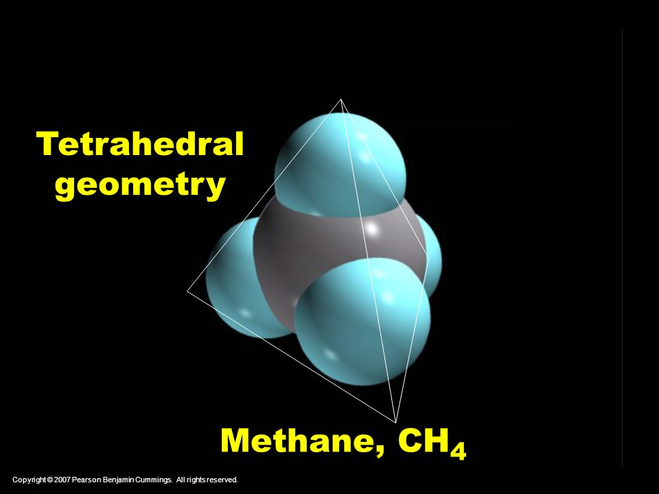 Tetrahedral geometry Methane, CH4