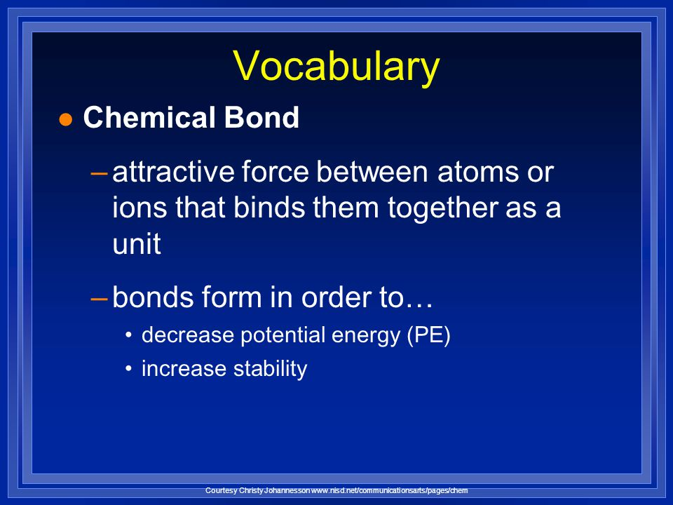 Vocabulary Chemical Bond