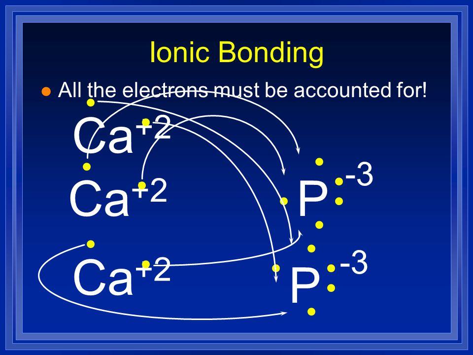 Ca +2 Ca P -3 +2 Ca P -3 +2 Ionic Bonding