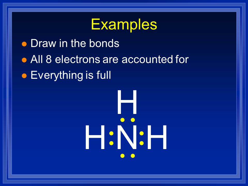 H H N H Examples Draw in the bonds All 8 electrons are accounted for