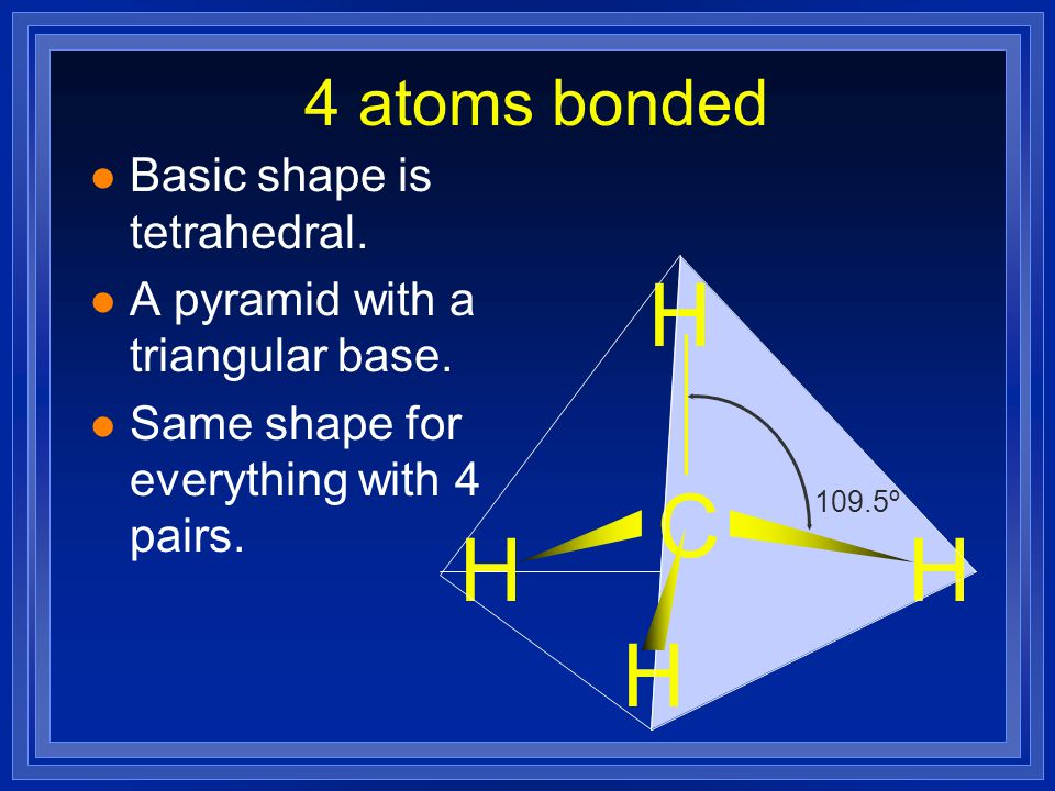 H C H H H 4 atoms bonded Basic shape is tetrahedral.
