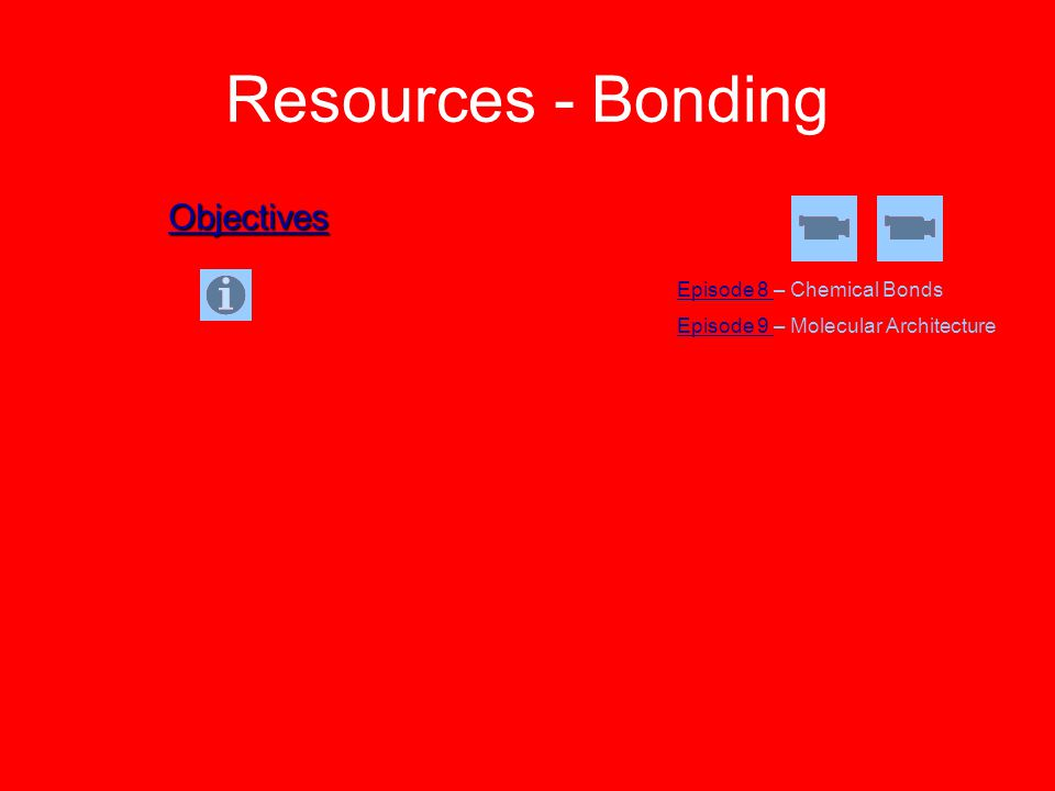 Resources - Bonding Objectives Episode 8 – Chemical Bonds