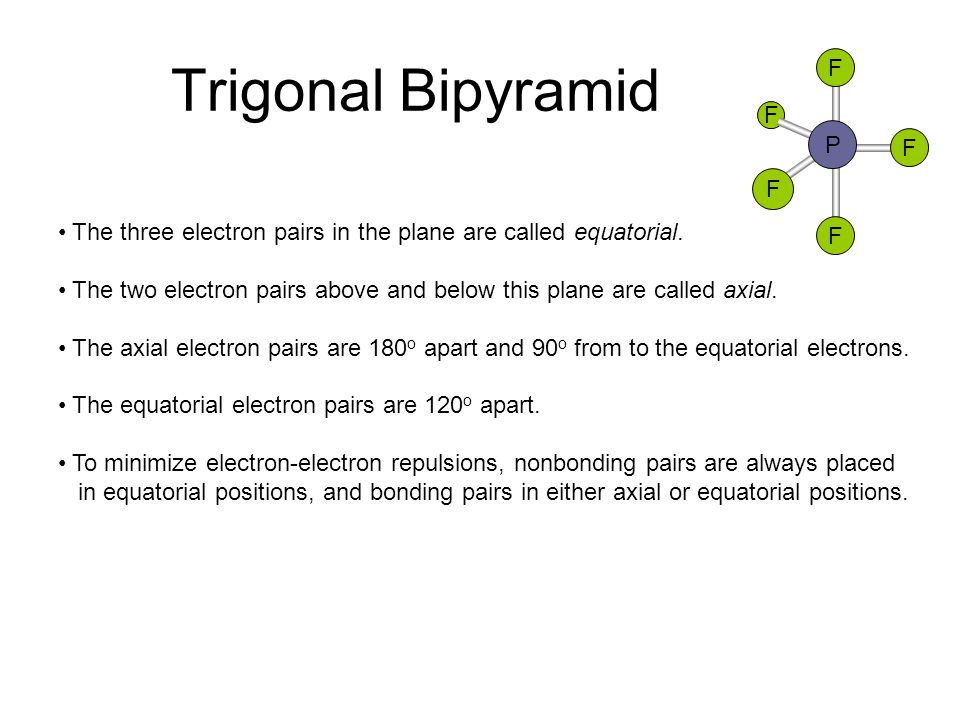 Trigonal Bipyramid F. P. The three electron pairs in the plane are called equatorial.