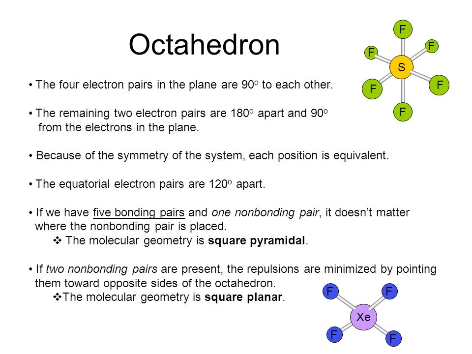 Octahedron F. S. The four electron pairs in the plane are 90o to each other. The remaining two electron pairs are 180o apart and 90o.