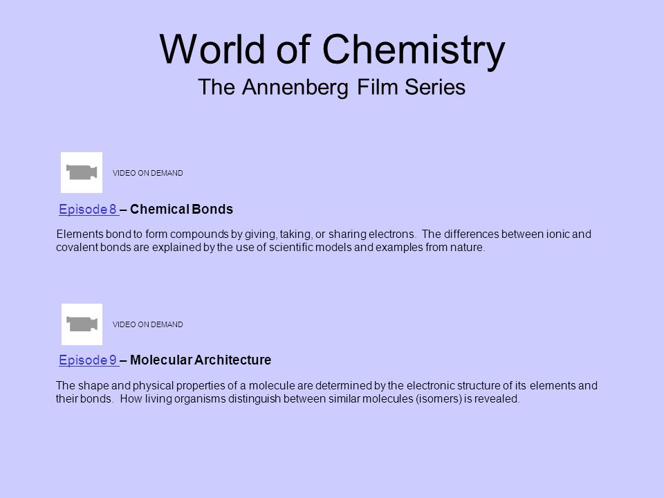 World of Chemistry The Annenberg Film Series