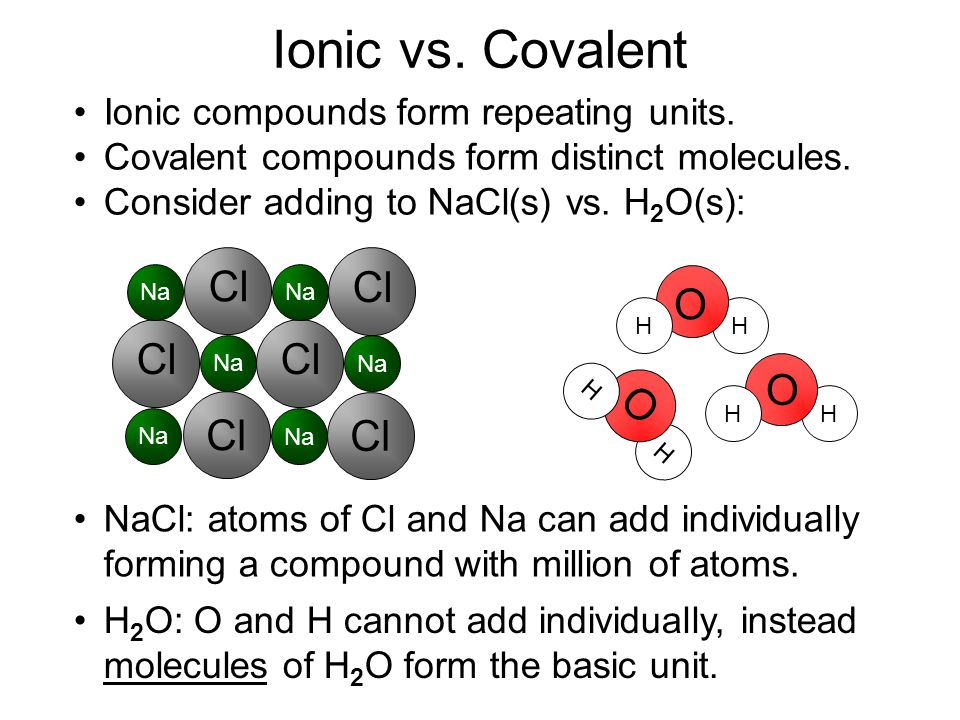 Ionic vs. Covalent O O O Cl Cl Ionic compounds form repeating units.