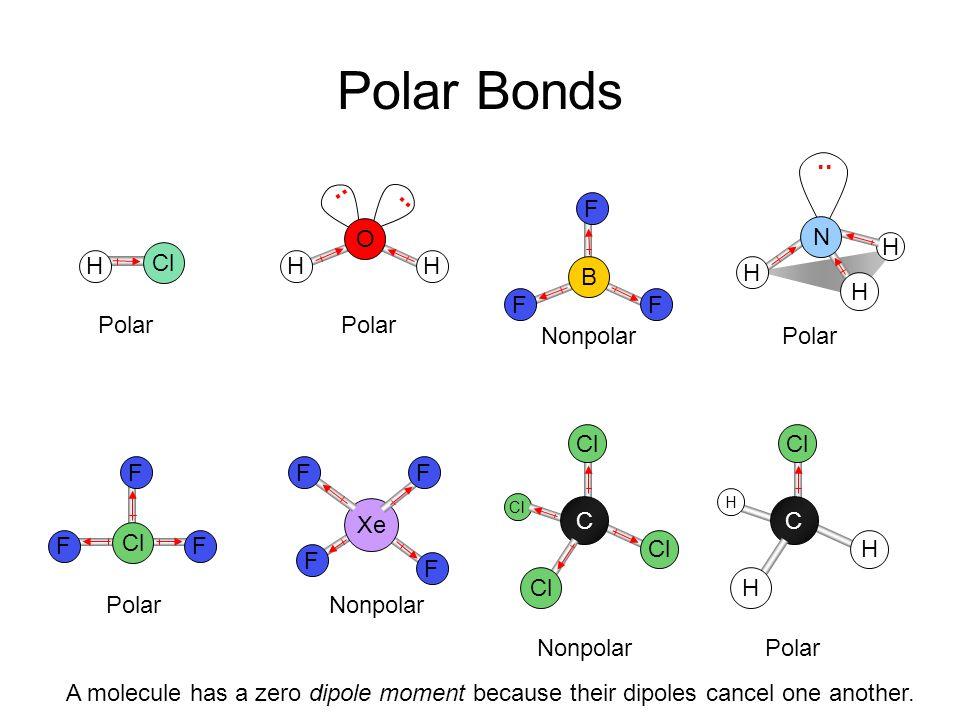 Polar Bonds .. .. .. F O N H Cl H H H B H H F F Polar Polar Nonpolar