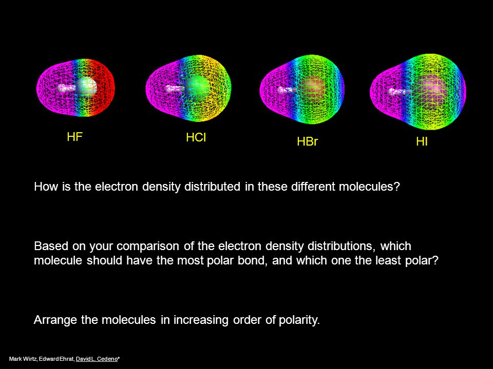 How is the electron density distributed in these different molecules