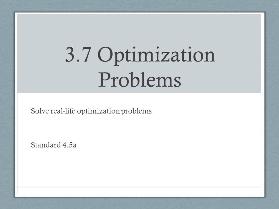 3.7 Optimization Problems