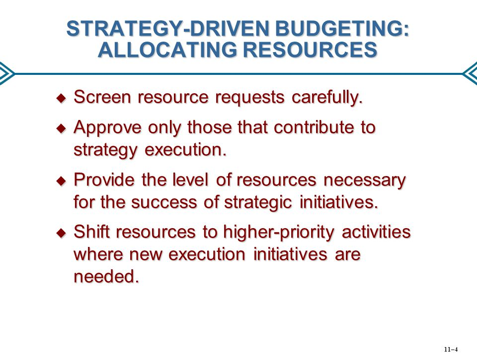 STRATEGY-DRIVEN BUDGETING: ALLOCATING RESOURCES