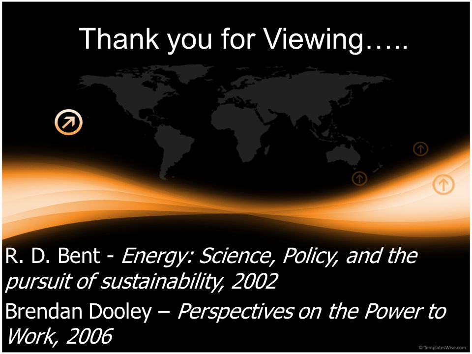 Thank you for Viewing….. R. D. Bent - Energy: Science, Policy, and the pursuit of sustainability, 2002.