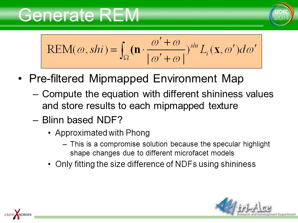 Generate REM Pre-filtered Mipmapped Environment Map