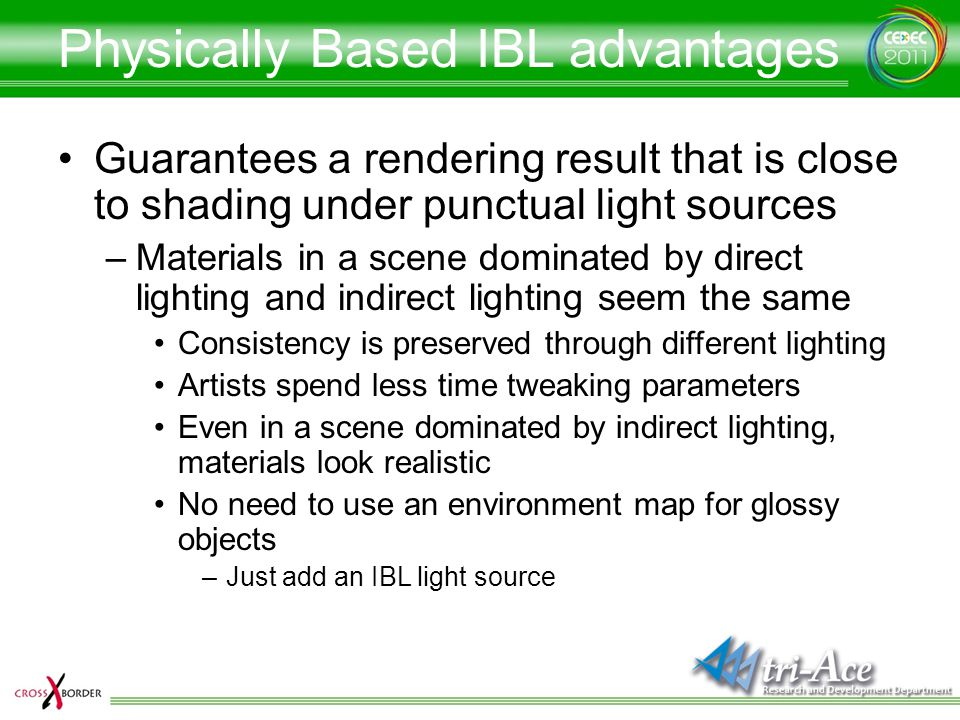 Physically Based IBL advantages