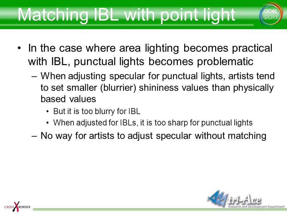 Matching IBL with point light