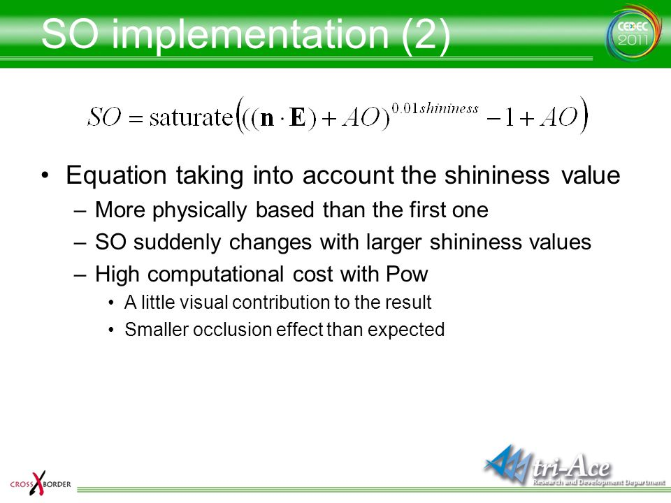 SO implementation (2) Equation taking into account the shininess value