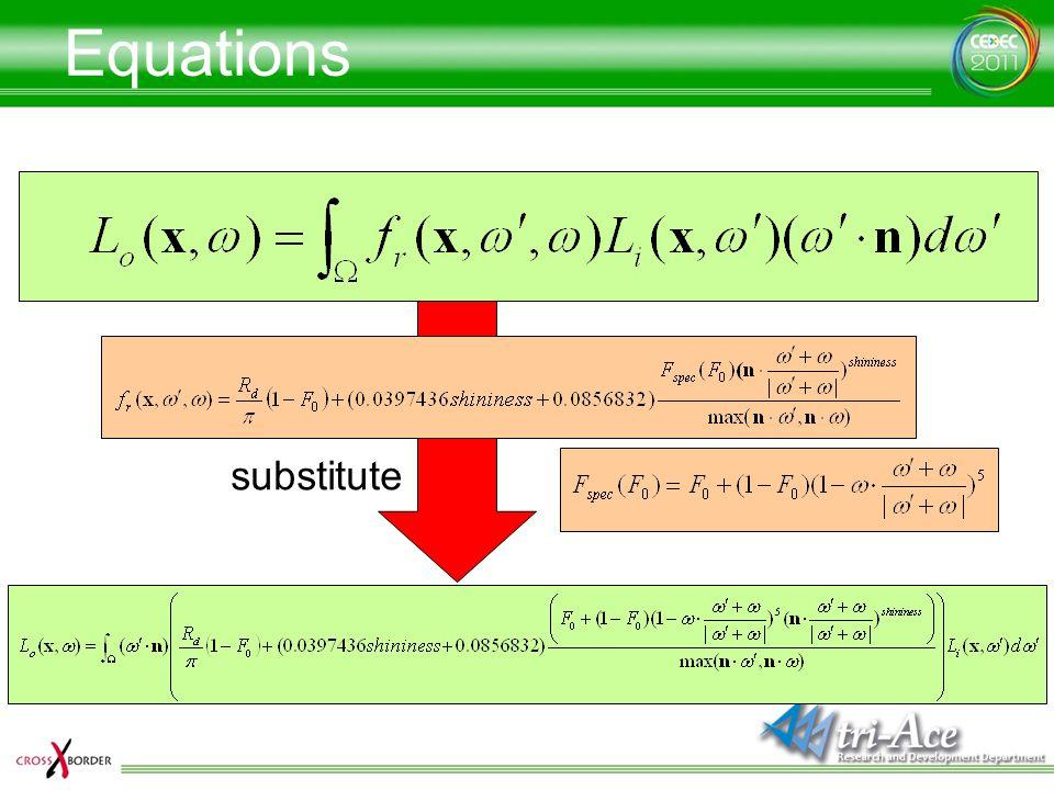 Equations substitute