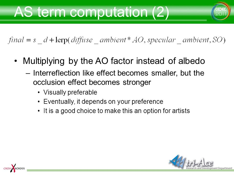AS term computation (2) Multiplying by the AO factor instead of albedo