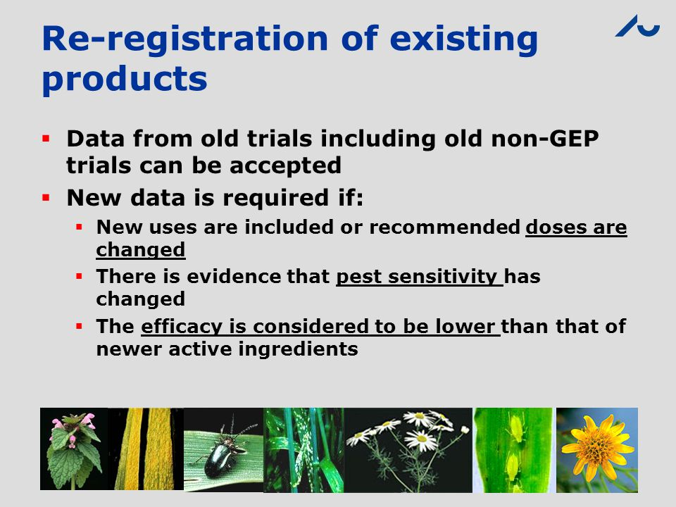 Re-registration of existing products