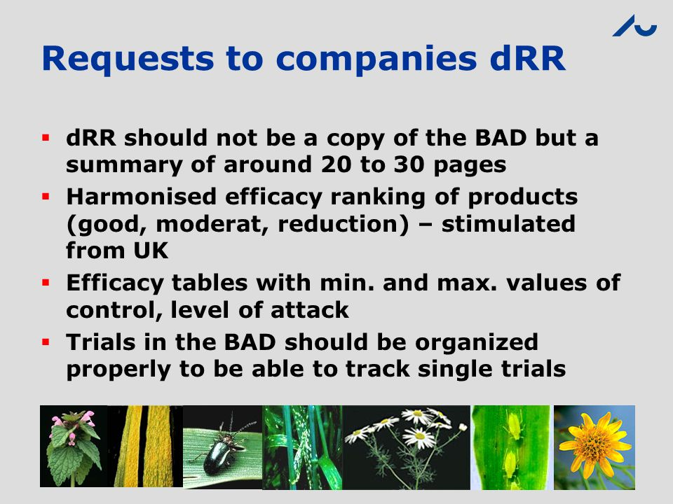 Requests to companies dRR