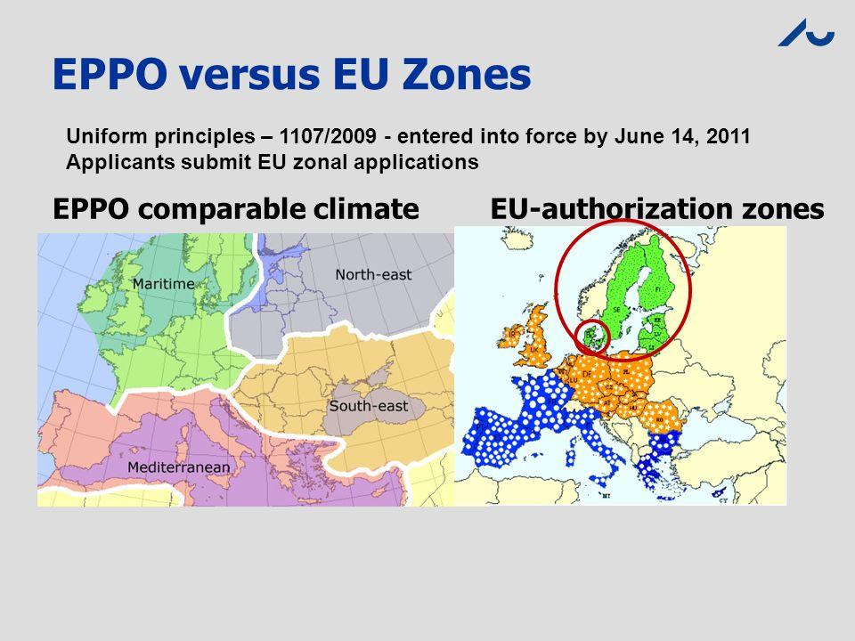 EPPO versus EU Zones EPPO comparable climate EU-authorization zones