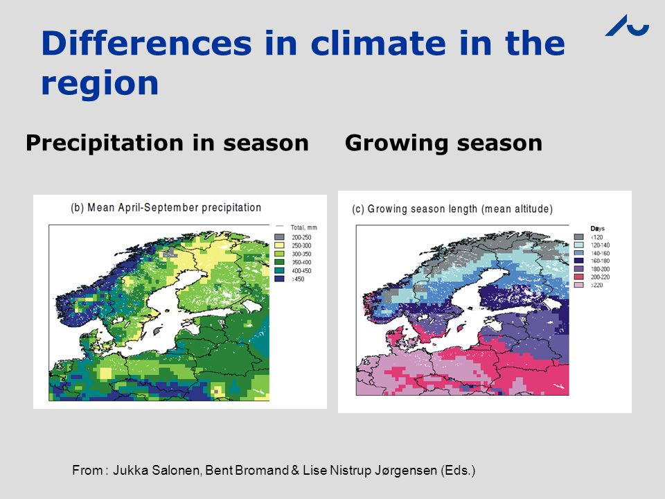 Differences in climate in the region