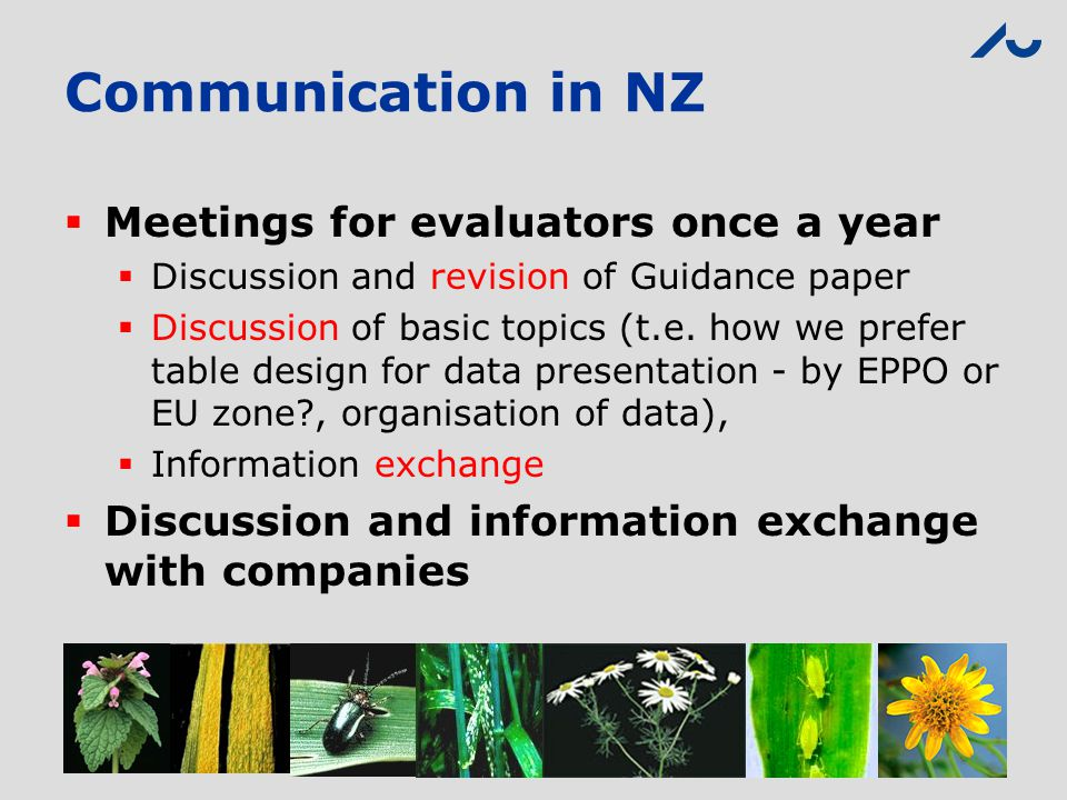 Communication in NZ Meetings for evaluators once a year