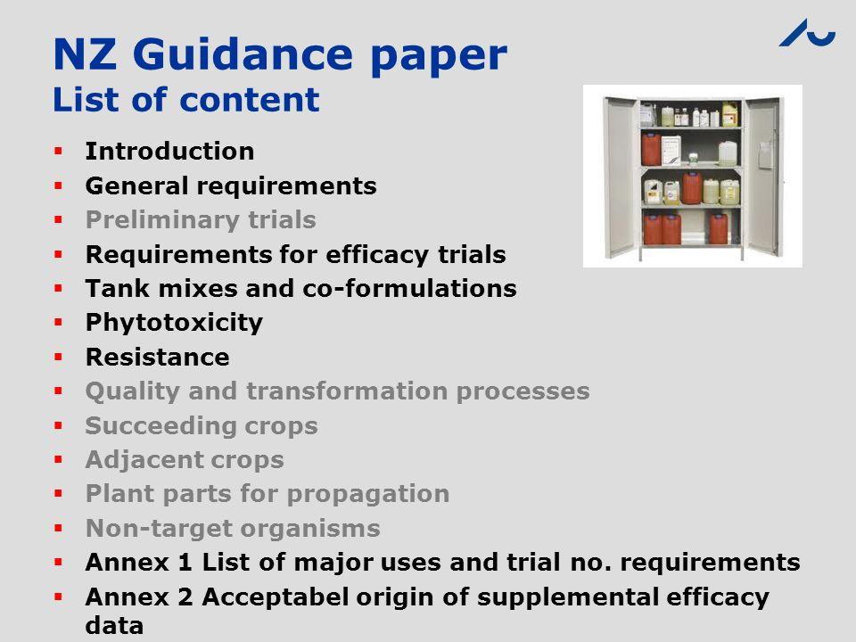 NZ Guidance paper List of content