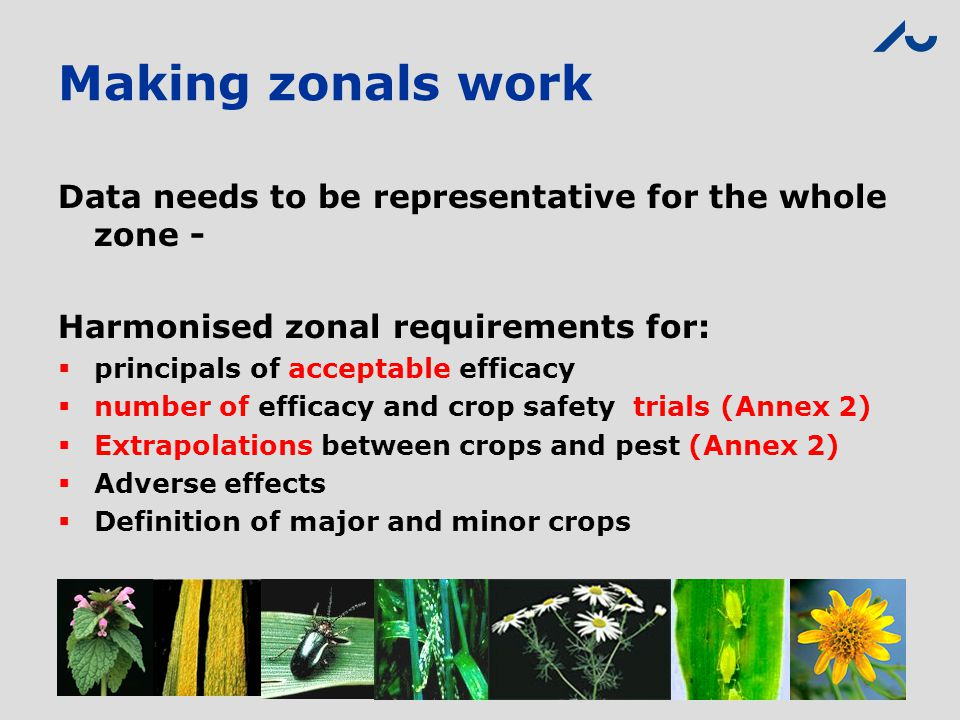 Making zonals work Data needs to be representative for the whole zone - Harmonised zonal requirements for: