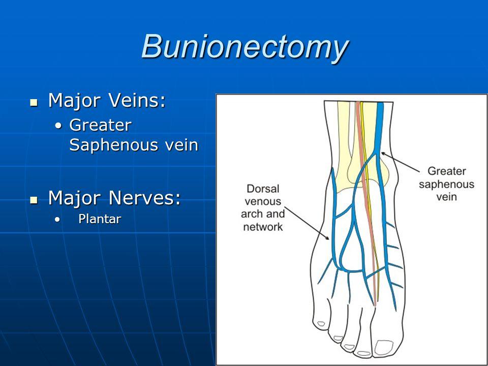 Bunionectomy Major Veins: Greater Saphenous vein Major Nerves: Plantar