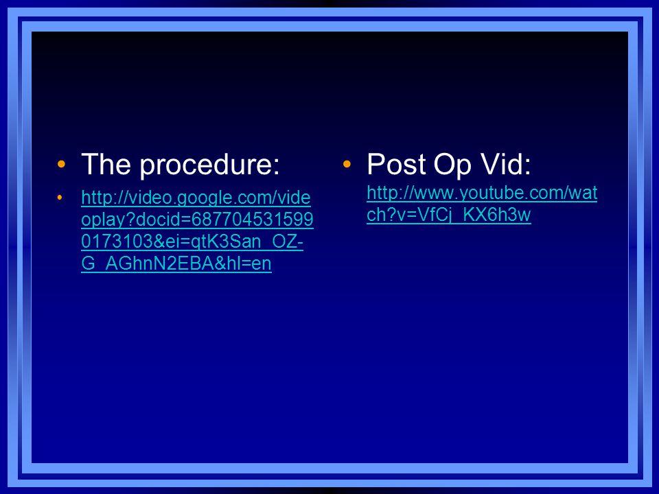 Post Op Vid: http://www.youtube.com/watch v=VfCj_KX6h3w