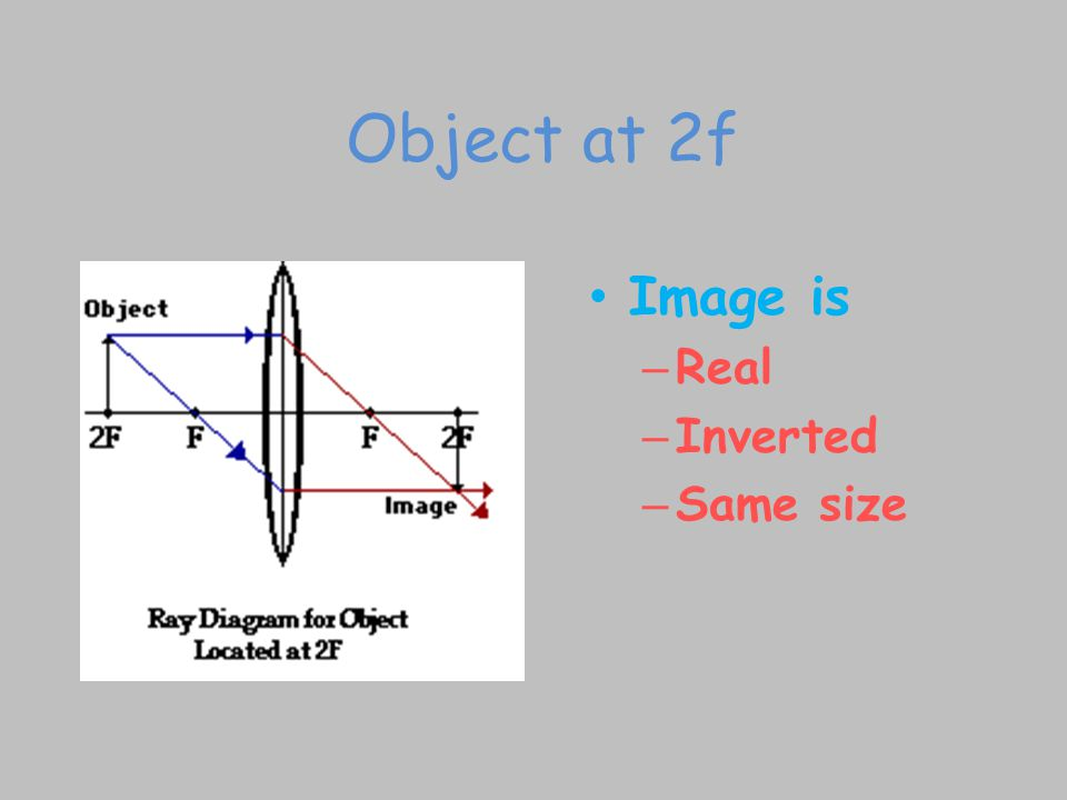 Object at 2f Image is Real Inverted Same size