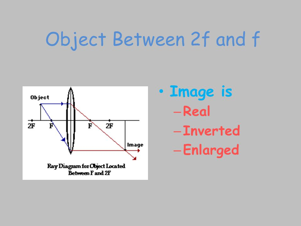Object Between 2f and f Image is Real Inverted Enlarged