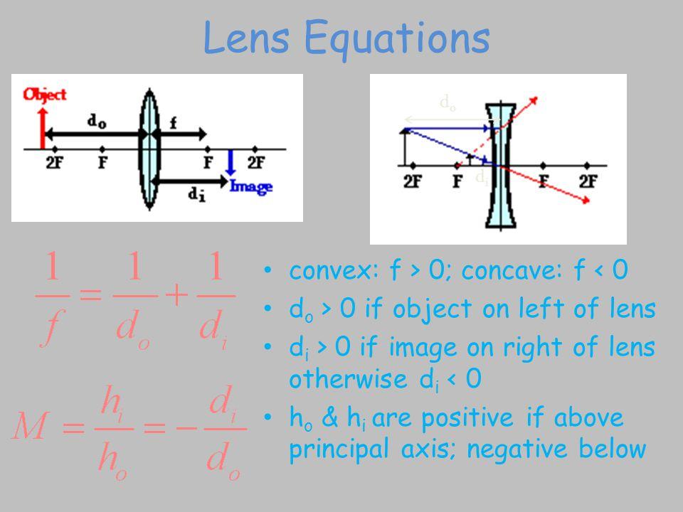 Lens Equations convex: f > 0; concave: f < 0