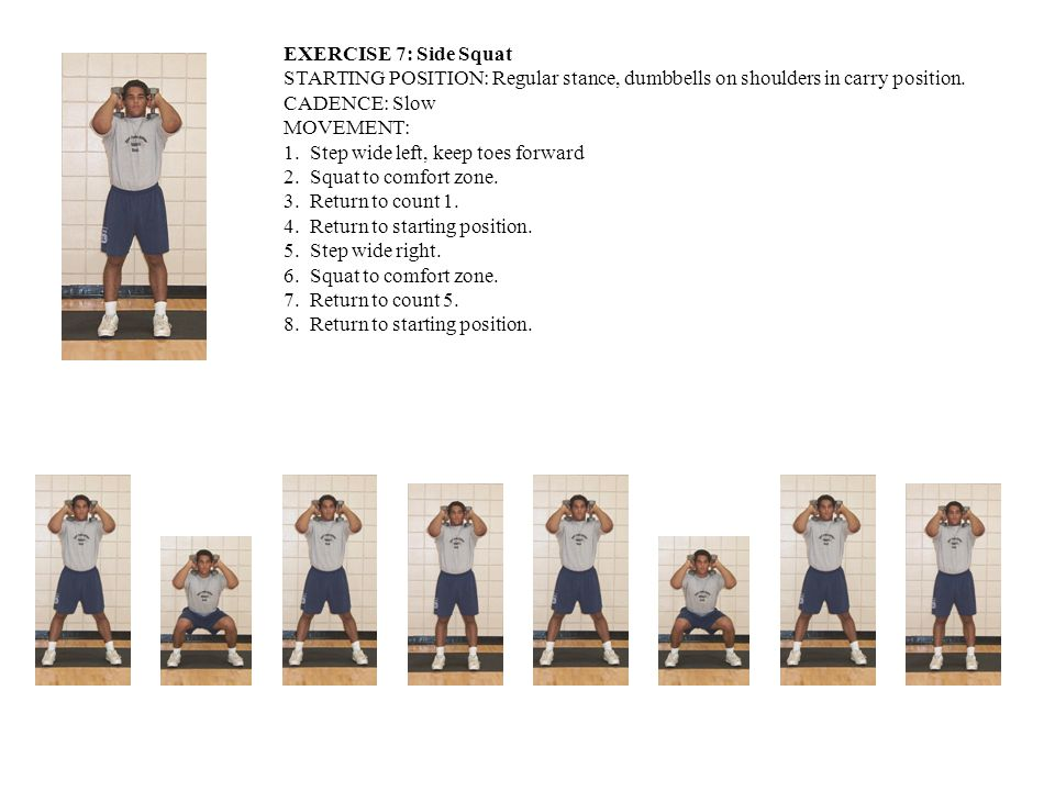 EXERCISE 7: Side Squat STARTING POSITION: Regular stance, dumbbells on shoulders in carry position.