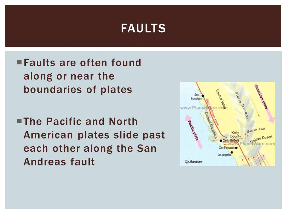 faults Faults are often found along or near the boundaries of plates