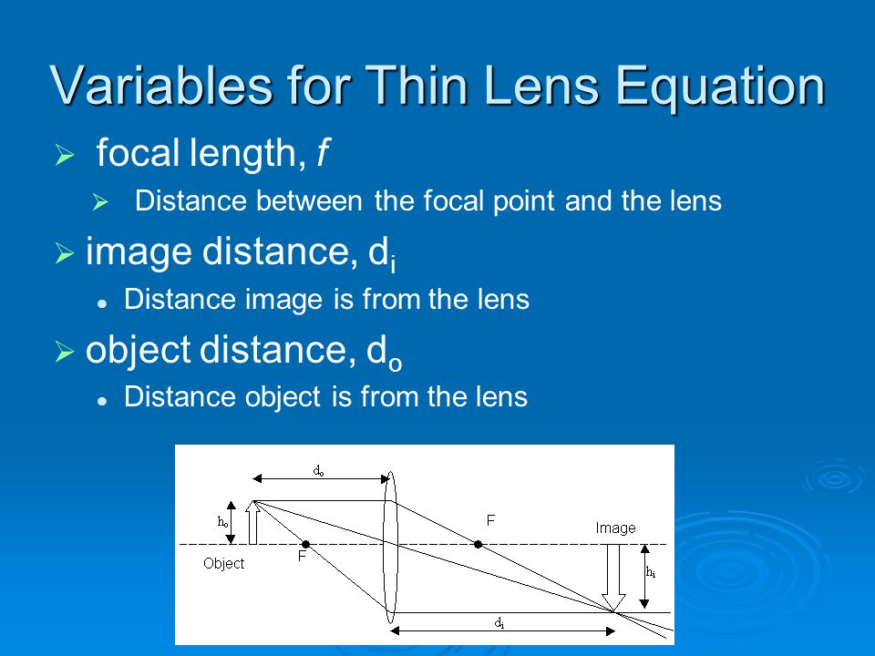 Variables for Thin Lens Equation
