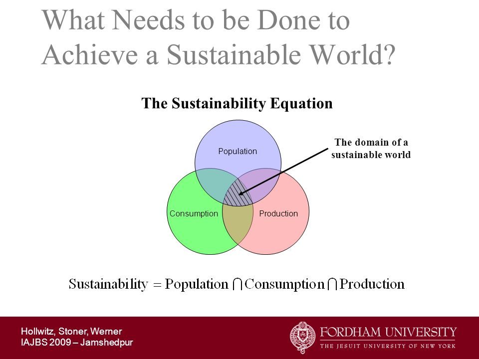 What Needs to be Done to Achieve a Sustainable World