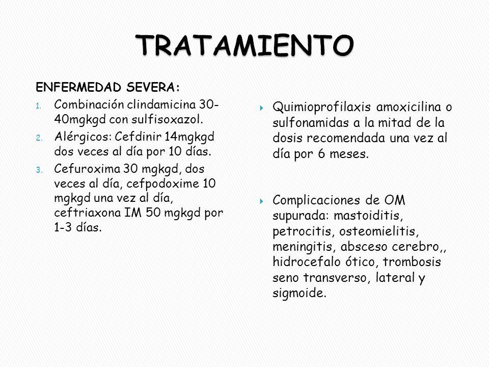 TRATAMIENTO ENFERMEDAD SEVERA: Combinación clindamicina 30- 40mgkgd con sulfisoxazol. Alérgicos: Cefdinir 14mgkgd dos veces al día por 10 días.