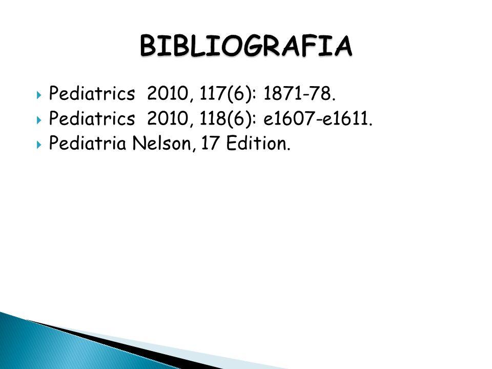 BIBLIOGRAFIA Pediatrics 2010, 117(6): 1871-78.