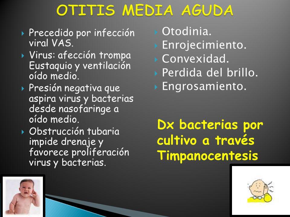 OTITIS MEDIA AGUDA Dx bacterias por cultivo a través Timpanocentesis