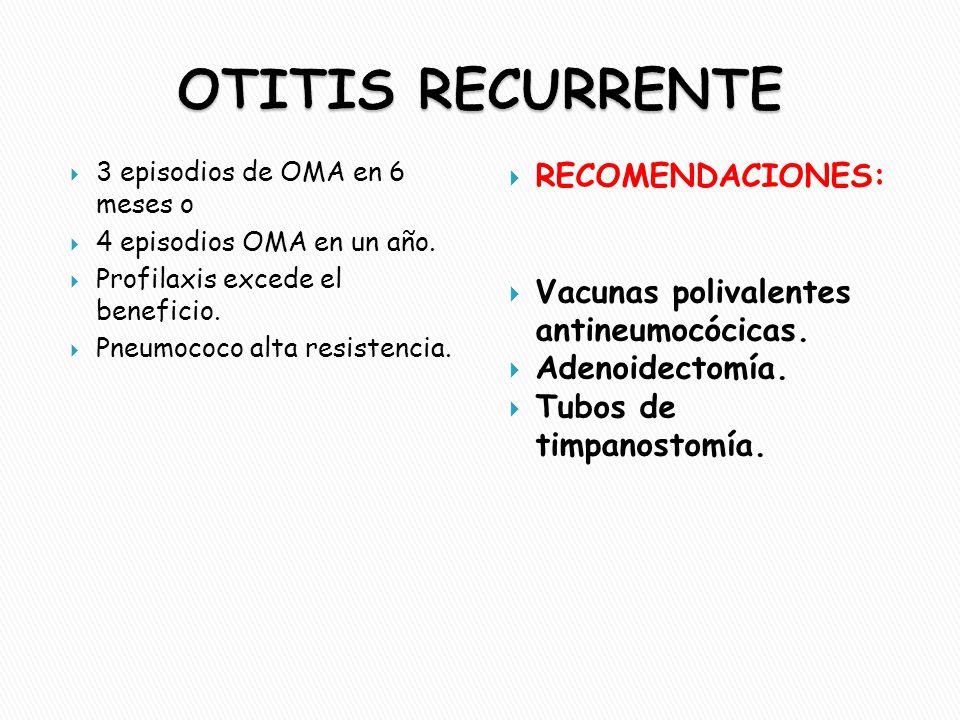 OTITIS RECURRENTE RECOMENDACIONES: